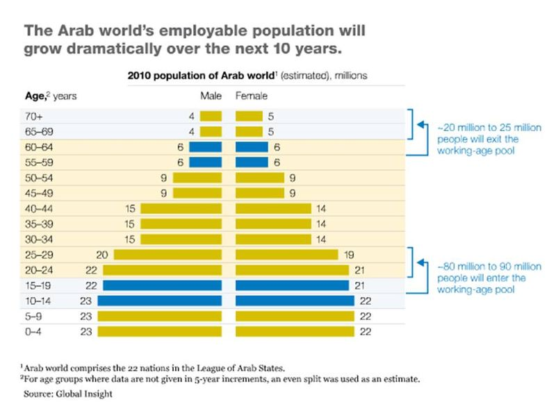 the growth of the population in the arab world • if current trends continue, muslims will make up 264% of the world's total projected population of 83bn in 2030, up from 234% of the estimated 2010 world population of 69bn.
